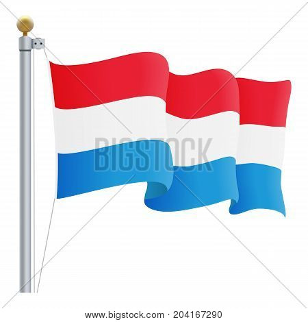 Waving Luxembourg Flag Isolated On A White Background. Vector Illustration. Official Colors And Proportion. Independence Day