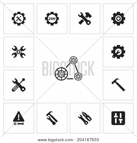 Set Of 13 Editable Toolkit Icons. Includes Symbols Such As Technical Support, Cambelt, Gear And More