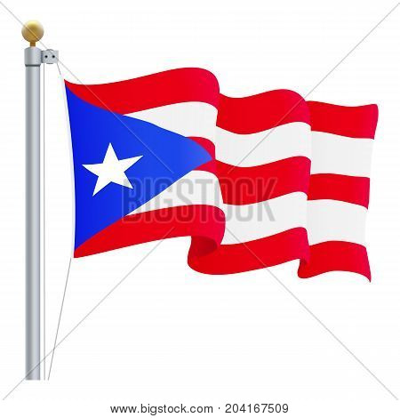 Waving Puerto Rico Flag Isolated On A White Background. Vector Illustration. Official Colors And Proportion. Independence Day