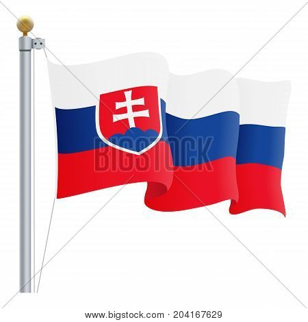 Waving Slovakia Flag Isolated On A White Background. Vector Illustration. Official Colors And Proportion. Independence Day