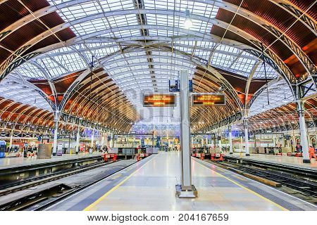 London UK - December 18 2016: Interior architecture of Paddington station a famous railway station in central London United Kingdom.