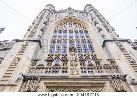 Bath UK - December 18 2016: View of the The Abbey Church of Saint Peter and Saint Paul Bath commonly known as Bath Abbey in Somerset Bath city United Kingdom.