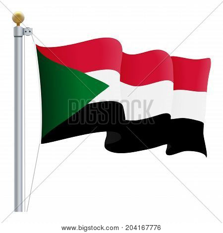 Waving Sudan Flag Isolated On A White Background. Vector Illustration. Official Colors And Proportion. Independence Day