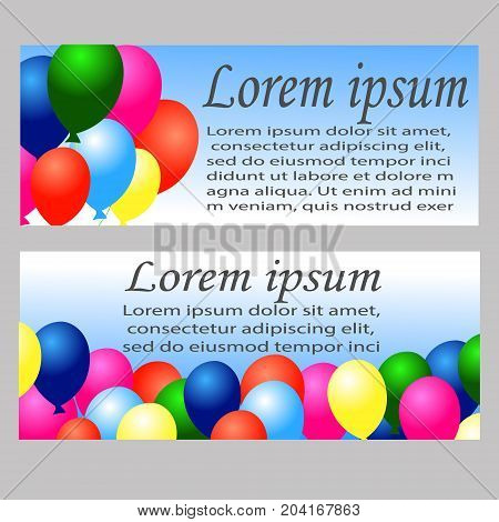Vector set of two colorful birthday banners with confetti and balloons
