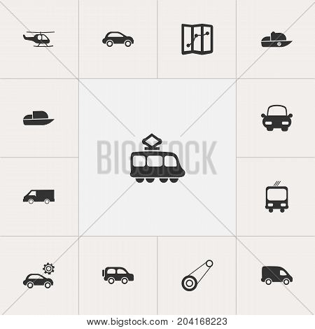 Set Of 13 Editable Transport Icons. Includes Symbols Such As Delivery, Transportation, Navigation And More
