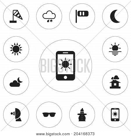 Set Of 12 Editable Climate Icons. Includes Symbols Such As Sun In Display, Eyeglasses, Wind Measurement And More