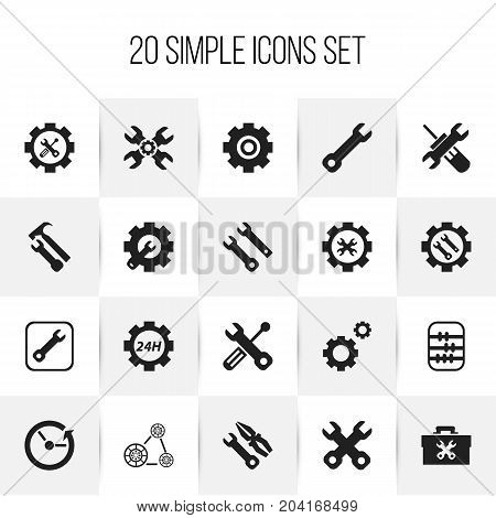 Set Of 20 Editable Repair Icons. Includes Symbols Such As Arithmetic, Instrument, Build Equipment And More