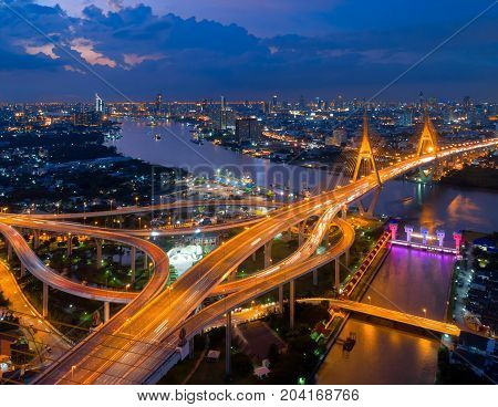 Bangkok Expressway top view Top view over the highwayexpressway and motorway at night Aerial view interchange of a city Shot from drone Expressway is an important infrastructure in Thailand