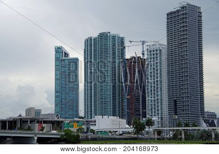 Miami, FL, United States - June 16, 2017: Downtown Miami buildings under construction.