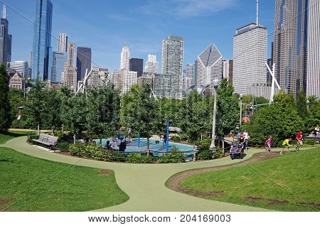Chicago, IL, United States - September 3, 2017: View of Chicago skyline from Maggie Daley Park.