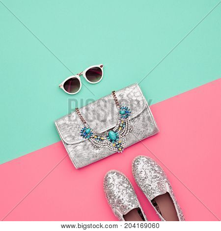 Minimal. Bright Art Colorful Style. Glamor fashion Hipster shoes. Trendy Sunglasses fashion Woman Handbag Clutch. Luxury Shiny Party lady.