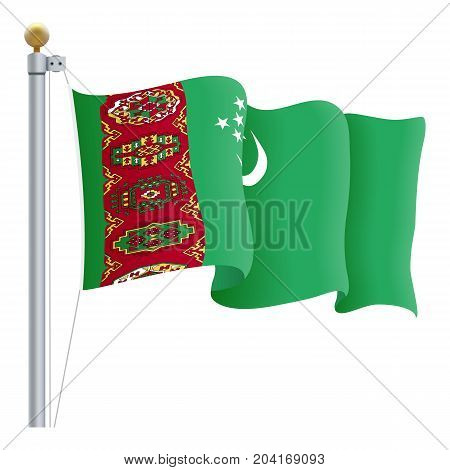 Waving Turkmenistan Flag Isolated On A White Background. Vector Illustration. Official Colors And Proportion. Independence Day