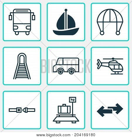 Delivery Icons Set. Collection Of Lorry, College Transport, Navigation Arrows And Other Elements