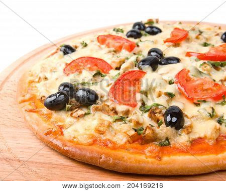 Home Pizza With Tomato And Eggplant  Closeup .
