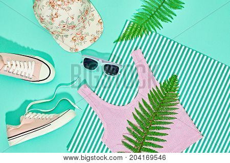 Hipster Girl Accessories Set. Fashion Design Outfit. Green Fern Leaf, Trendy Shoes, fashion Cap Sunglasses. Hot Summer Vibes. Creative Bright Sweet Style. Minimal, Art