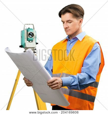 Measuring theodolite precision instrument working portrait worker