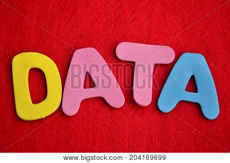 WORD DATA ON A ABSTRACT RED BACKGROUND