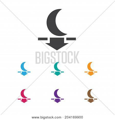 Vector Illustration Of Weather Symbol On Moon Down Icon