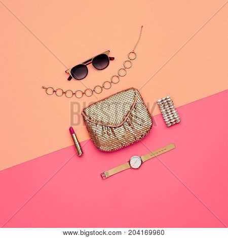 Minimal. Sweet Colors. Cosmetic Makeup. Glamor fashionable Woman Gold Handbag Clutch, Trendy Design fashion Sunglasses. Luxury Shiny Party lady. Creative Art.