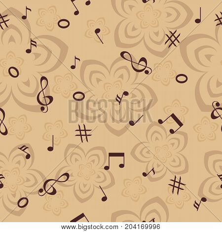 musical notes and flowers in brown tones seamless background