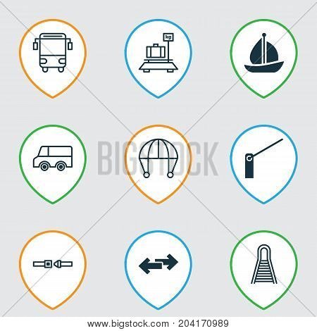 Delivery Icons Set. Collection Of Safety Belt, Navigation Arrows, Baggage And Other Elements