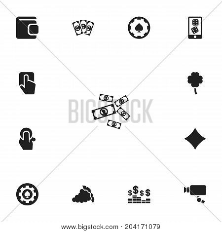 Set Of 13 Editable Casino Icons. Includes Symbols Such As Greenback, Tracking Cam, Money And More