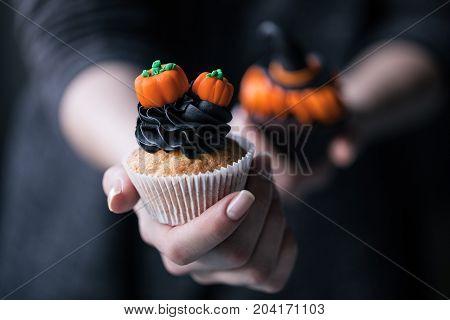 Halloween Cupcake In Hand