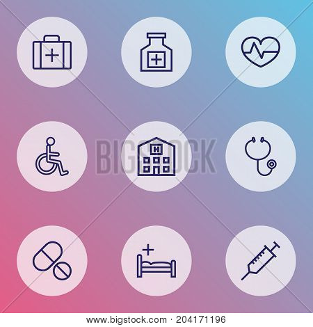 Drug Outline Icons Set. Collection Of Tablets, Injection, Disabled Person And Other Elements