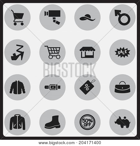 Set Of 16 Editable Shopping Icons. Includes Symbols Such As Stiletto, Grocery, Guard Camera And More
