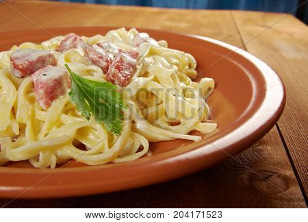 pasta Fettuccine Alfredo with sausage. cclose up traditional meal