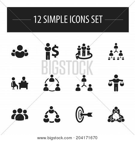 Set Of 12 Editable Business Icons. Includes Symbols Such As Meeting, Goal, Cooperation And More