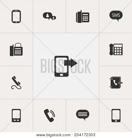 Set Of 13 Editable Device Icons. Includes Symbols Such As Address Notebook, Forum, Tablet And More