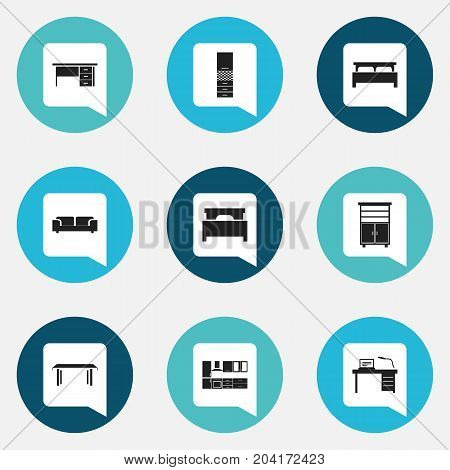 Set Of 9 Editable Furnishings Icons. Includes Symbols Such As Locker, Interior, Bed And More