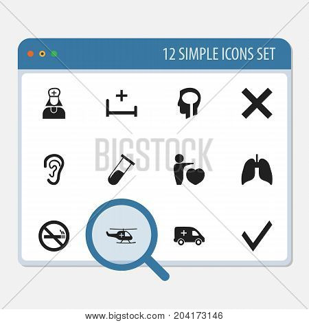 Set Of 12 Editable Health Icons. Includes Symbols Such As Stop Smoke, Test Tube, Mark And More