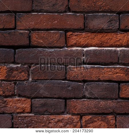 Fark old brick wall background red color close up. Vintage textured brick backdrop