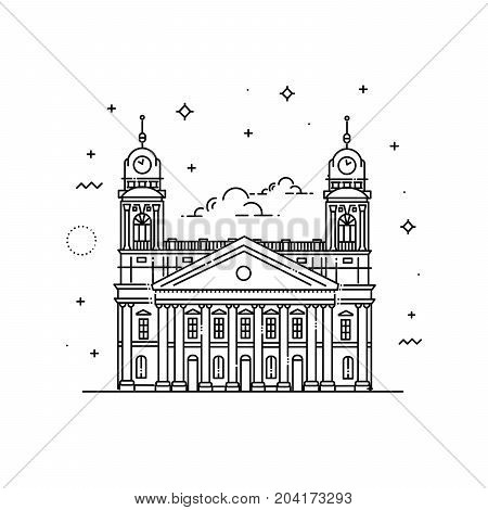 The Reformed Protestant Great Church is located downtown the city of Debrecen. Line icon