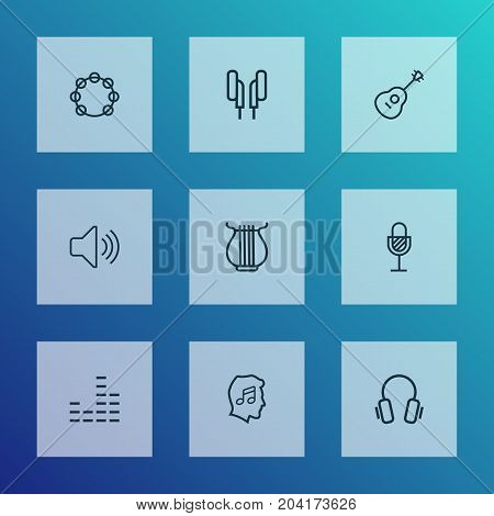 Music Outline Icons Set. Collection Of Equalizer, Stringed, Earphones And Other Elements