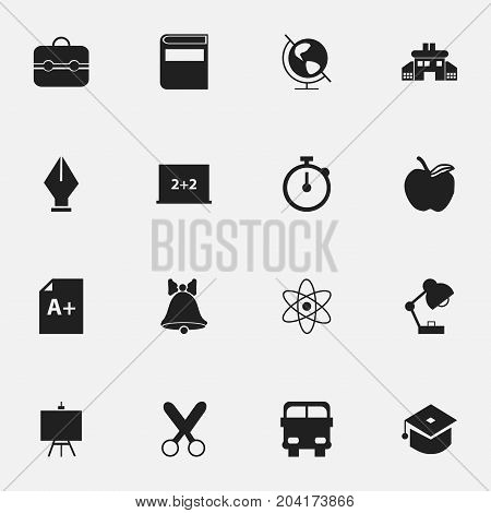 Set Of 16 Editable School Icons. Includes Symbols Such As Earth Planet, Jingle, Transport Vehicle And More