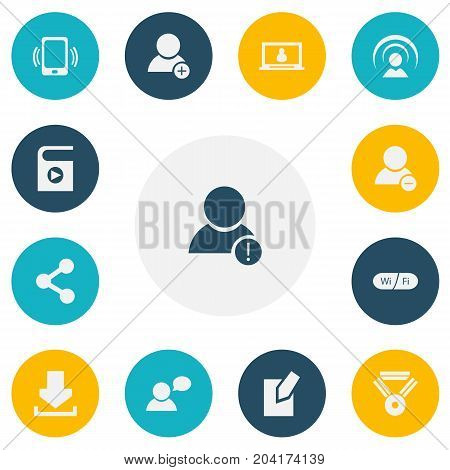 Set Of 13 Editable Internet Icons. Includes Symbols Such As Edit File, Delete Member, Smartphone And More