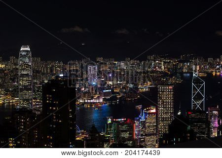 Panorama  Skyscrapers Of Victoria Peak ,hong Kong