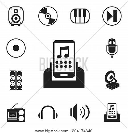 Set Of 12 Editable Audio Icons. Includes Symbols Such As Rec, Headphones, Synthesizer And More