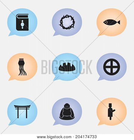 Set Of 9 Editable Dyne Icons. Includes Symbols Such As Religious Book, Fish, Traditional Lamp And More