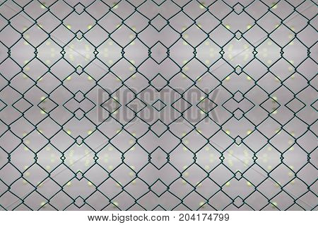 seamless pattern of cage of tennis court with tennis court blurred background