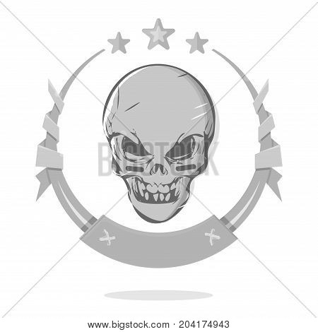 Cool evil skull. The demon head in a circle on a white background. Template awards or the gothic emblem.