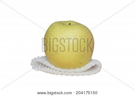Chinese Pear With Epe Net Foam On Isolated White Background