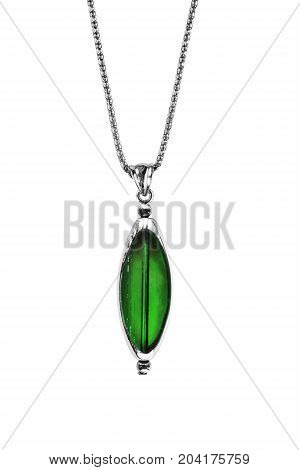Elegant emerald pendant on silver chain isolated over white
