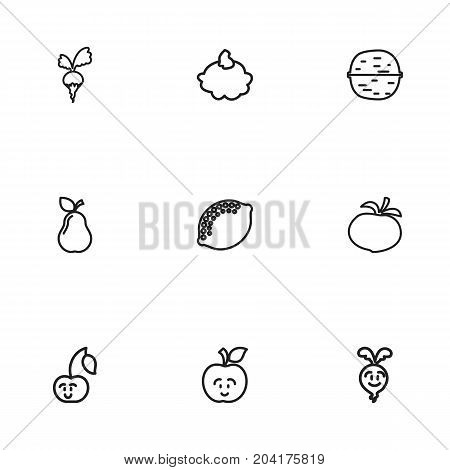 Set Of 9 Editable Kitchenware Outline Icons. Includes Symbols Such As Laughing Cherry, Pear, Radish And More