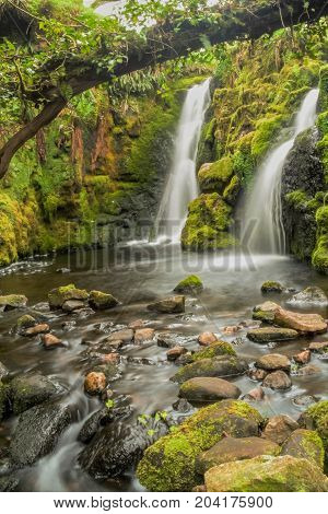 Venford waterfall on Dartmoor National Park in Devon, UK.