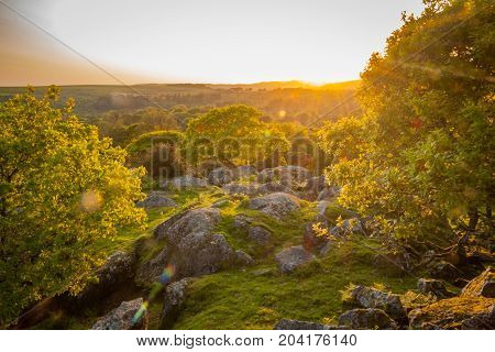 Sun setting over Dartmoor on a Summers evening.