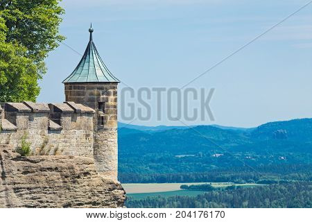 Watchtower of castle with copy space in sunny day